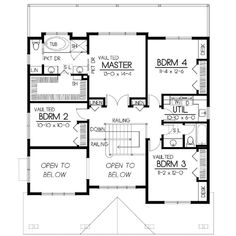 YES!!!!!! BDRM 2 AND OPEN TO BELOW> BONUS RM; UTIL. MOVED TO BONUS W/ WALK THRU TO WIC, AND JACK&JILL WC FOR BDRM 3&4 - Houseplans.com Craftsman Upper Floor Plan Plan #100-437