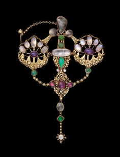 John Paul Cooper (English, 1869–1933) English, Arts and Crafts, 1908. Gold (15 kt), ruby, moonstone, pearl, amethyst, and chrysoprase. Museum of Fine Arts, Boston.