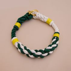 Skipper Rope dog handmade training collar style - dog collar - Soft cotton rope collar -Green & white Hand made cotton rope collar - beautiful collar with the rope ends spliced then whipped with Lasso's original knots for durability.