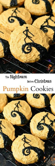 The Nightmare Before Christmas Pumpkin Cookies. FUN cookies to serve for Hallowe The Nightmare Before Christmas Pumpkin Cookies. FUN cookies to serve for Halloween parties to all that LOVE The Nightmare Before Christmas. Source by momlovesbaking Halloween Desserts, Hallowen Food, Halloween Goodies, Halloween Food For Party, Halloween Ideas, Happy Halloween, Pumpkin Cookies, Fun Cookies, Sugar Cookies