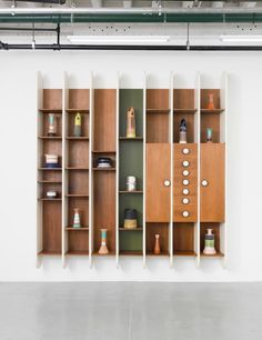 Ettore Sottsass: Library, 1965 Lacquered wood and walnut, brass 102.4 x 96.1 x 12.8 inches