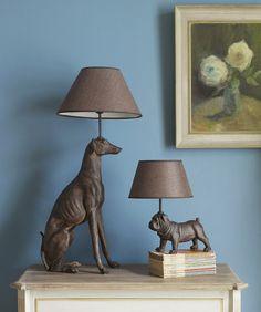 Greyhound Lamp £138, Pug Lamp £75, Graham and Green