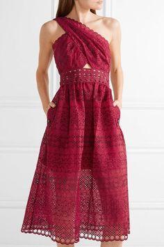 c83802c6 Self-Portrait - One-shoulder cutout cotton-blend guipure lace midi dress