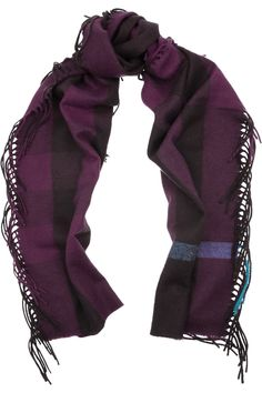 Burberry|Fringed cashmere scarf|NET-A-PORTER.COM