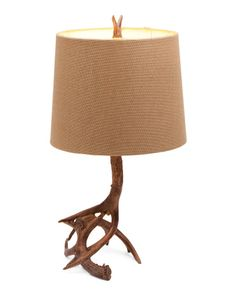 Antler Table Lamp With Faux Leather Shade 92 AUD Liked On Polyvore Featuring Home Lighting Lamps Brown Ligh