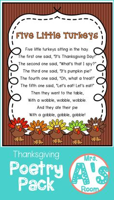 These cute Thanksgiving poems are perfect to use during your shared reading time in preschool or kindergarten! The activities that go with them will give you lots of ideas for your Thanksgiving theme! Fall Preschool, Preschool Songs, Preschool Classroom, Kids Songs, Kindergarten Crafts, Thanksgiving Activities For Preschool, November Preschool Themes, Turkey Crafts For Preschool, Music Activities