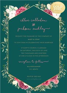 The most beautiful and unique wedding invitations, RSVP cards, and other wedding stationery available in Ireland, the UK and worldwide. Unique Wedding Invitations, Wedding Invitation Suite, Invitation Design, Wedding Stationery, Bohemian Invitation, Rsvp, Florals, Wedding Inspiration, Range