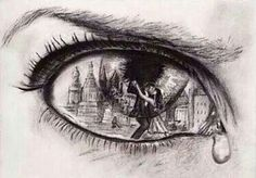 Pencil sketch of broken hearted man's teary eyes reflecting what he sees: his true love kissing another.