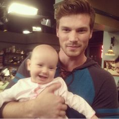 Derek Theler and baby Emma on Baby Daddy.