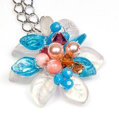 Blue Orange Flower Necklace Pendant by CherylParrottJewelry, $44.95