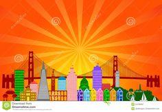 san francisco skyline silhouette | San Francisco California City Skyline Panorama Color Silhouette with ...