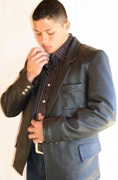 Leather sportscoat with metal buttons and unique stitching #custom leather jackets #mens fashion, #leather jacket #jackie robbins