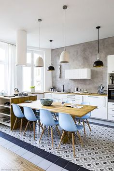 The kitchen is simply white, with light colored wood countertops and light blue … - Kitchen - Best Kitchen Decor! Open Kitchen And Living Room, Kitchen Room Design, Open Plan Kitchen, Home Decor Kitchen, Interior Design Kitchen, Home Kitchens, Kitchen Ideas, Kitchen Island And Table Combo, Small Open Kitchens