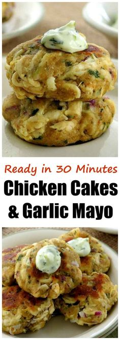 Easy Chicken Cakes Recipe with Garlic Mayo is healthy and ready in under 30 minutes. Use leftover chicken and top with a a garlic mayonnaise.