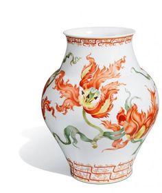 """Vase """"Stilisierte Papageitulpen"""", Stilisierte Malerei nach Börner, H 43 cm"""