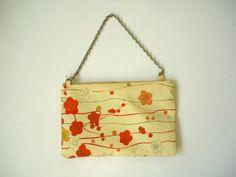 Valentine plum flower makeup bag cream beige silk by malmokkobags, $25.00