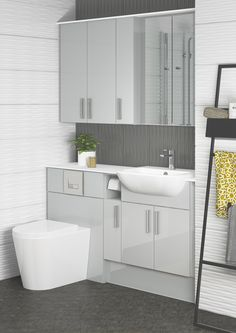 Light Grey Gloss is a stunning finish choice. It works so well with almost all room colours and is a perfect choice if you want to add wall units to your room, whilst still maintaining a spacious look and feel. Rustic Bathroom Shelves, Rustic Bathroom Designs, Bathroom Interior Design, Bathroom Ideas, Minimalist Bathroom Furniture, Classic Bathroom Furniture, Beautiful Bathrooms, Small Bathrooms, Diy Home