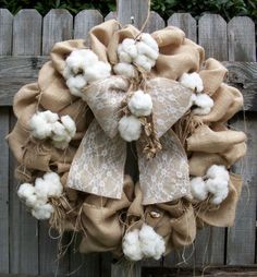 Items similar to Country Church Door Wedding Bride Wreath Burlap Real Cotton Bolls Burrs Homegrown Jute Large Lace Bow on Etsy Diy Wreath, Wreath Burlap, Wreath Ideas, Primitive Wreath, Country Primitive, Cotton Wreath, Wedding Wreaths, Lace Bows, Cotton Bolls