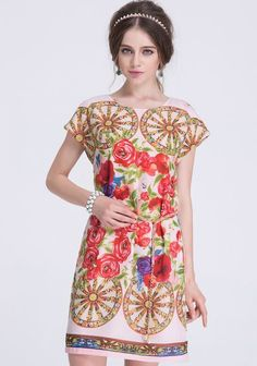 Pink Short Sleeve Floral Wheel Print Dress pictures