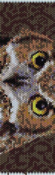 BOWL0001 Owl 1 Even Count Single Drop Peyote Cuff/Bracelet Patter