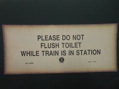 VINTAGE WARNING SIGN Thick Paper Print Reproduction Maine Central Railroad 1917 Do Not Flush  Gag Gift Man Cave Restroom Bar Funny Sign