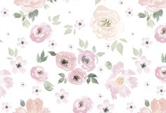 The wallpaper depicts watercolor flowers. The removable wallpaper design is soft & calming, and instantly gives any room a beautiful vintage vibe. Peel & Stick