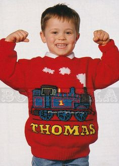 vintage THOMAS the TANK Engine jumper knitting pattern (90s) (PDF). 12 Thomas patterns!!