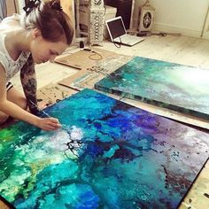 "crossconnectmag: "" Emma Lindström - Cosmic Compositions painter Emma Lindström creates colorful swirls of awesomeness using a combination of acrylic and spraypaint. Though the artist is from Sweden, her work feels as though it came from. Pintura Graffiti, Acrylic Art, Painting Techniques, Art Tutorials, Painting Inspiration, Art Lessons, Amazing Art, Cool Art, Art Drawings"