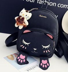 Embroidered Cat Backpack School Bag | victoriaswing