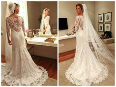 Vestido branco de renda para casamento