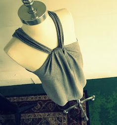 DIY no sew t shirt halter.  Great for around the house!