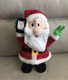 "Automated Santa Sings Dances Takes Selfie with his Cell Phone 14"" See Video  #Gemmy"
