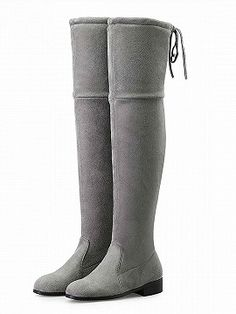 Shop Gray Suedette Pointed Laced Back Over The Knee Flat Boots from choies.com .Free shipping Worldwide.$89.9