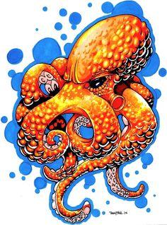 Octopus Tattoo - Bildideen - Tattoo Piercings - Octopus Tattoo - Garden Pot Design - DIY Bathroom - Hairstyle For School - Ideas DIY Jewelry Octopus Sketch, Octopus Drawing, Octopus Tattoo Design, Octopus Tattoos, Octopus Art, Colorful Drawings, Art Drawings, Osiris Tattoo, Graphic Design Illustration
