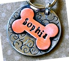 Love it! Gracie needs a tag...Personalized Pet tag ID / Sophia Multi Metal Bone by PoochyCouture, $16.00