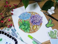 """""""Succulents""""  Original+painting+by+Kelsey+Yurkow,+2017  Size:+20.5+x+20.5+cm    ►+Made+with+watercolor+paint+&+colored+pencil+on+thick,+300g+cold+pressed+paper+-+lightly+textured.+Signed+&+dated+on+the+front.    ►+Color+and+value+may+vary+slightly+from+the+image+on+the+computer+screen.+The+painti..."""