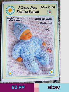 Dolls Knitting Pattern By Daisy-May Doll No 249 Baby Doll Clothes, Doll Clothes Patterns, Baby Dolls, Knitting Wool, Vintage Knitting, Baby Knitting Patterns, Baby Patterns, Baby Born Kleidung, Daisy May