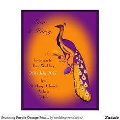 Stunning Purple Orange Peacock custon wedding Invitation #purpleorangewedding #purple #orange #wedding #peacockwedding #peacock