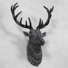Large Stags Stag Head Bronze Wall Mounted Deer Antlers Urban Sculpture Art Bust   eBay