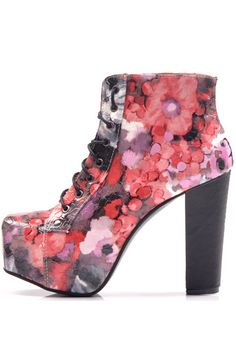 Red Floral Lace Up Platform Chunky Heel Booties #Red #Booties #maykool