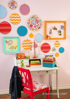 Use embroidery hoops for a fun and funky wall display!