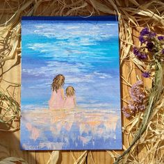 Mothers day gift idea Mom with daughter Miniature painting Beach design Original oil canvas Mom and me Girls room decor Painted card #canvaspaintingideas