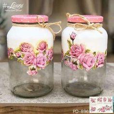 Glass Bottle Crafts, Diy Bottle, Bottle Art, Decoupage Jars, Decoupage Vintage, Painting Glass Jars, Bottle Painting, Mason Jar Crafts, Mason Jar Diy