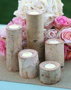 Birch Candles Centerpiece Votive Tea Light Candle by braggingbags