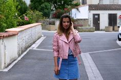 Get this look: http://lb.nu/look/8239555  More looks by Anne-Gaëlle Denay: http://lb.nu/rockngirly  Items in this look:  Zara Pink Perfecto, H&M Blue Suede Skirt   #pink #blue #pastel #rainbow #look #outfit #ootd #outfitoftheday #pinkperfecto