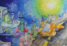 제 26회 대한민국 어린이 푸른나라 그림대회 수상작  ▶수상분야 고학년 대상 ▶수상자명 박소연 (남원주초등학교 5학년) ▶심사평 '친환경 자동차가 다니는 아름다운 물 속 세상'이라는 주제에 잘 어울리면서도 어린이 다움이 풍부하게 담겨진 그림입니다. #hyundaimotorgroup #hyundai #kidshyundai