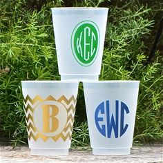 50 Custom Shatterproof Cups by GraciousBridal on Etsy, $52.95