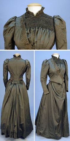 One-piece gray-green silk bustle dress with steel beads, circa 1880s. Bodice has tightly ruched front yoke and ruffled stand-up collar. Diagonal beaded band crosses front over pleats to left side. Narrow sleeves with beaded wrist. Skirt gathered in back into wide buckle with braided and cut steel design. Polished cotton underskirt with buckram hem lining with ties and belt for bustle pad. Via Whitaker Auctions. Auctions/LiveAuctioneers