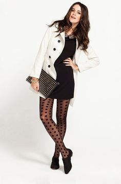 To try - sassy tights.  Depending on how cold it is in your hood, fun, funky tights look great with a mini dress or skirt for a night out. Swiss dot and back seam tights are more unexpected than classic fishnet, and are easier to wear than bright colored solid tights.