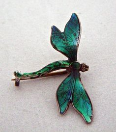 Dragonfly Brooch by JA Sterling Silver and Guilloche Enamel by eyessayall on Etsy, $100.00